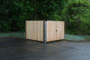 Straight top cedar stockade gate with galvanized frame and posts